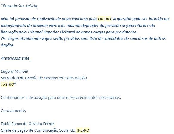 Concurso TRE RO: nota da Assessoria de Imprensa.