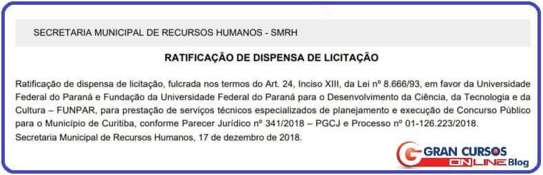 Banca organizadora doconcurso ISS Curitiba.