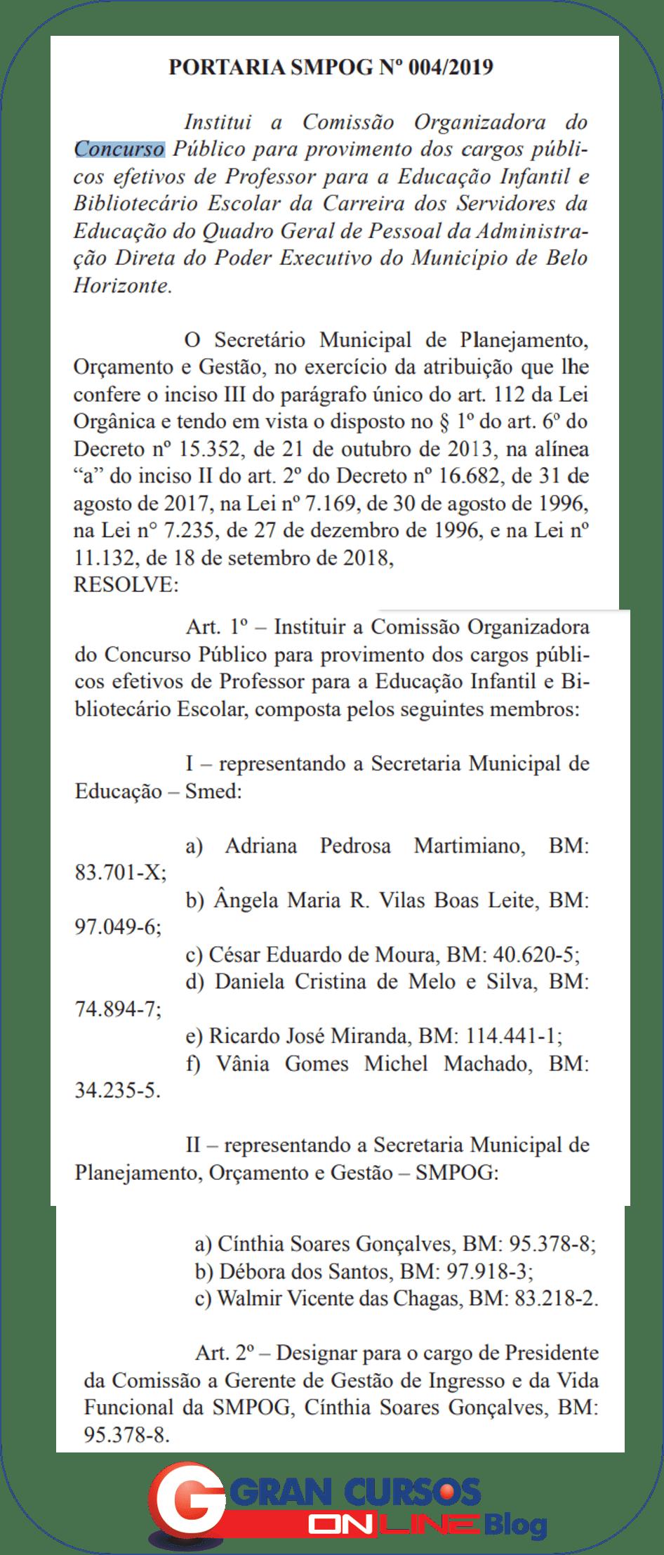 Concurso Prefeitura BH: comissão instituída!