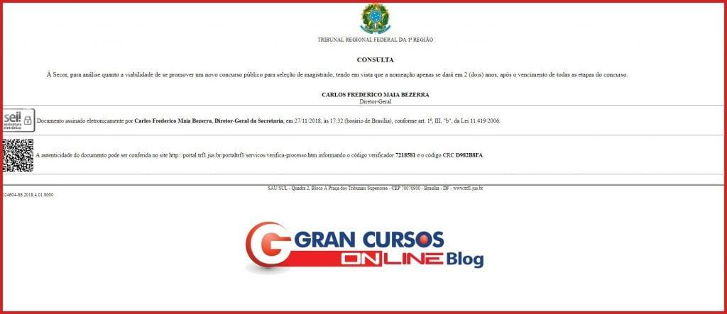 Concurso TRF1 Juiz: diretoria do órgão solicita levantamento de informações para novo edital.