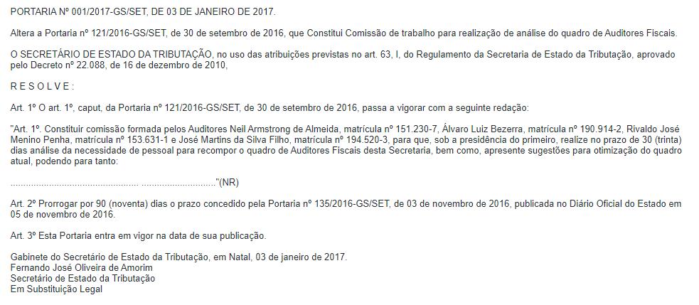 Concurso Sefaz RN: comissão formada.