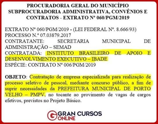 Concurso SEMED Porto Velho RO: extrato do contrato da escolha da banca.