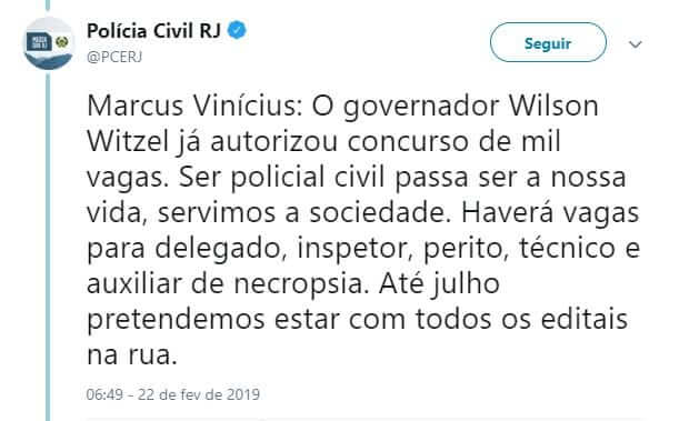Edital Polícia Civil RJ: tweet do órgão que informa a autorização do certame.