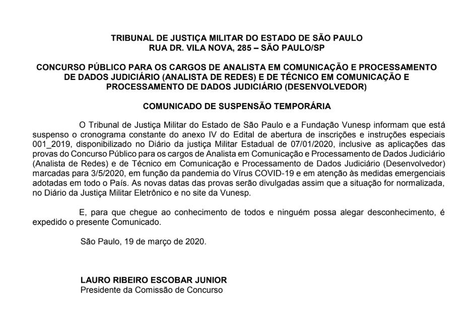 Concurso TJM SP: suspensão temporária