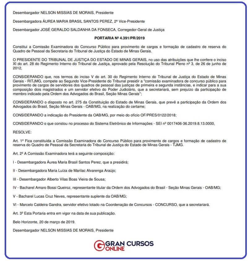 Concurso TJ MG 2ª Instância: comissão é composta por servidores e membro da OAB