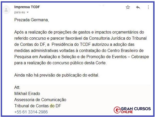 Concurso TCDF: Resposta da assessoria do órgão.