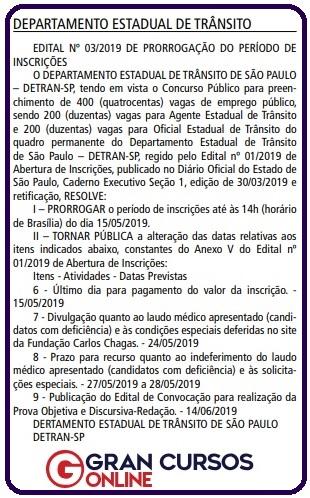 Edital Detran SP: Prorrogação do período de inscrições.