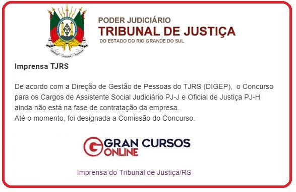 Concurso TJ RS confirma a comissão!
