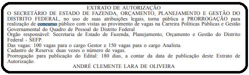 Concurso PPGG DF: extrato do contrato da prorrogação da publicação do edital.