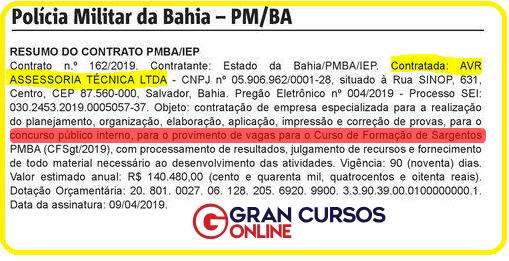 Concurso Interno PM BA: contratação da banca organizadora.