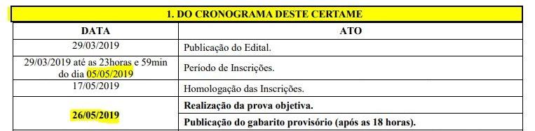Concurso Prefeitura de Aurora: novo cronograma.