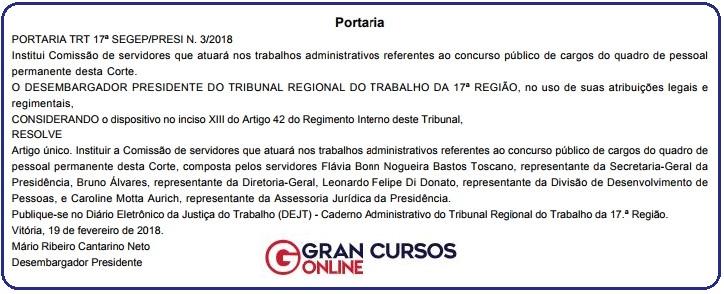Concurso TRT ES: Comissão Formada.