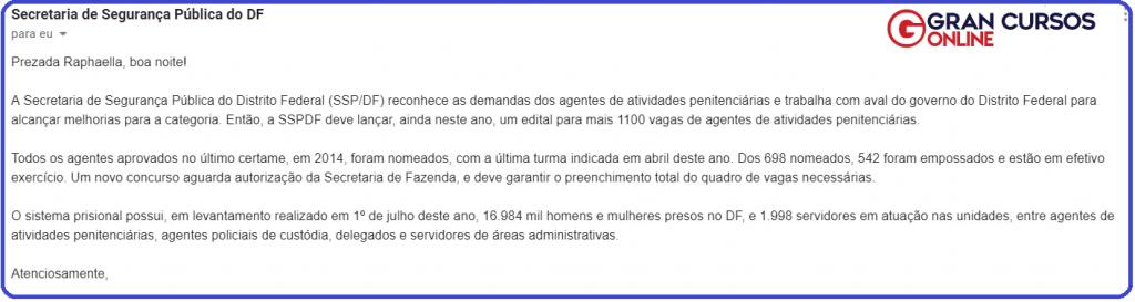 Resposta da Assessoria de Comunicação sobre o concurso SESIPE DF.