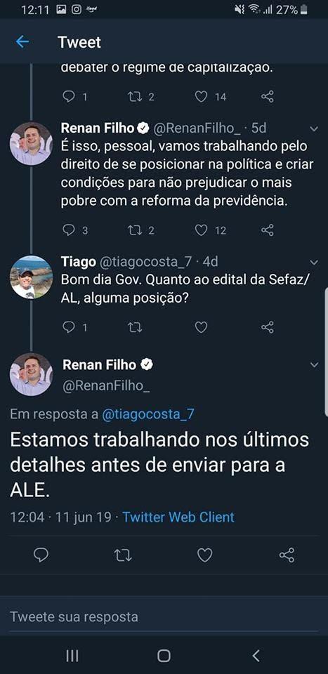 Edital SEFAZ AL: Twitter do Governador de Alagoas