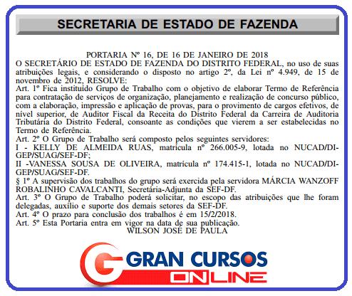 Edital Sefaz DF forma comissão!