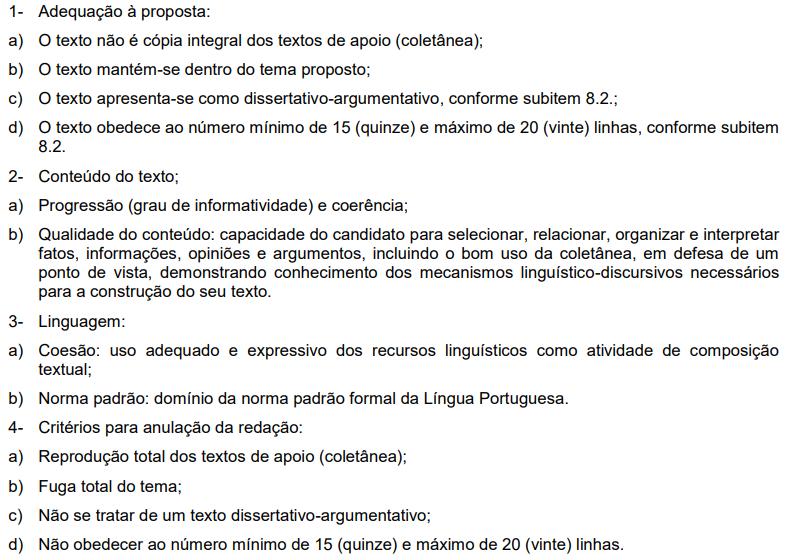 Critérios de avaliação da prova de redação do concurso de 2013