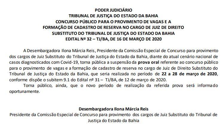Imagem contendo a informação sobre suspensão da prova oral.