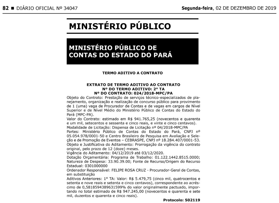 Concurso MPC PA: Termo Aditivo a Contrato.