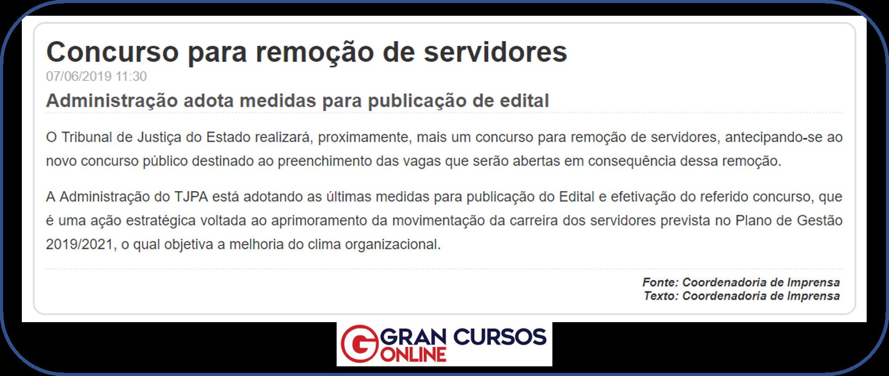 Concurso TJ PA: nota publicada pelo órgão.