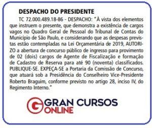 Edital TCM SP: Despacho do Presidente do TCM SP.