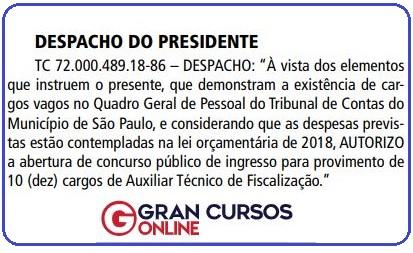 Concurso TCM SP: autorização publicada no Diário Oficial da Cidade de São Paulo.