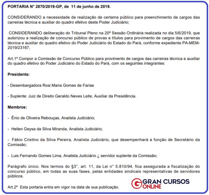 Portaria Nº 2870/2019-GP