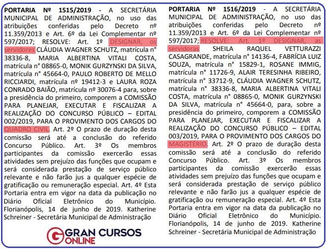 Concurso Prefeitura Florianópolis SC: Portarias que formam comissões organizadoras do certame.