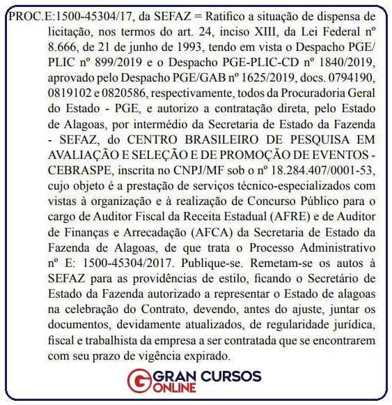 Edital Sefaz AL: Despacho publicado no Diário Oficial do Estado