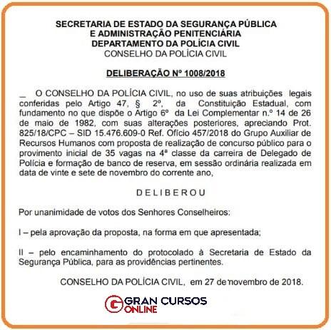 Concurso PC PR: Autorização do certame para delegado.
