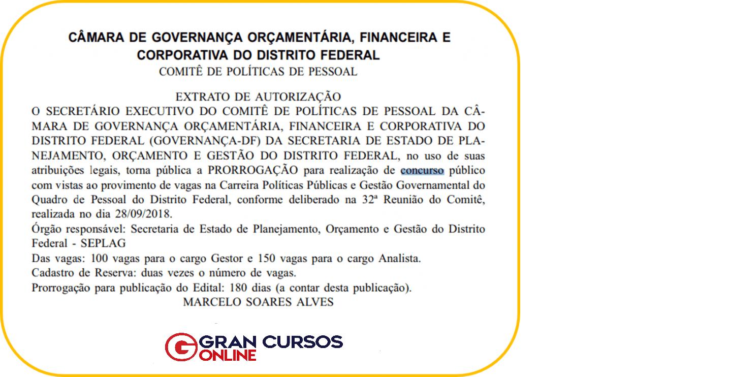 Concurso PPGG DF: extrato de autorização.
