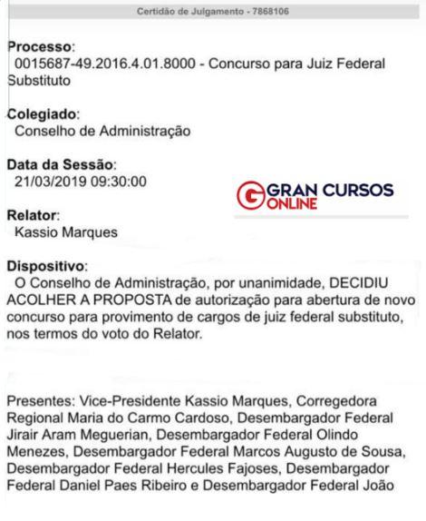 Concurso TRF 1 Juiz: autorizado pelo Conselho de Administração.