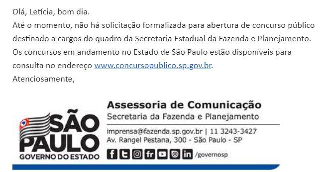 Concurso Sefaz SP: nota da Assessoria de Imprensa encaminhada à Equipe de Comunicação do Gran Cursos Online.