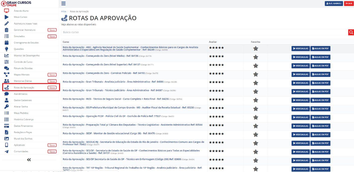 Lista com alguns dos cursos Rotas da Aprovação na plataforma do Gran Cursos Online
