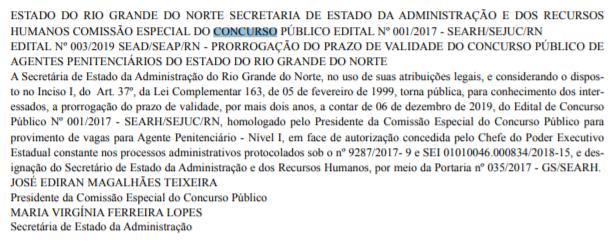 Concurso Agente Penitenciário RN: prazo de validade prorrogado!