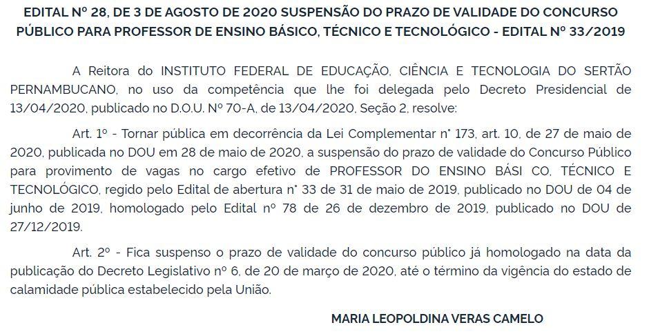 Concurso IF Sertão PE: prazos de validades suspensos