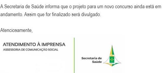 <strong>Concurso SES DF</strong>: nota da Assessoria de imprensa.