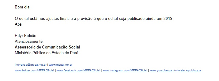 Concurso MP PA: nota da Assessoria de Imprensa.