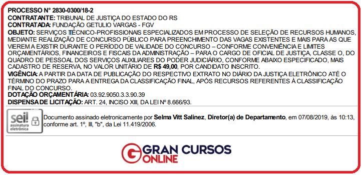 Concurso TJ RS: extrato publicado no Diário Oficial de Justiça.