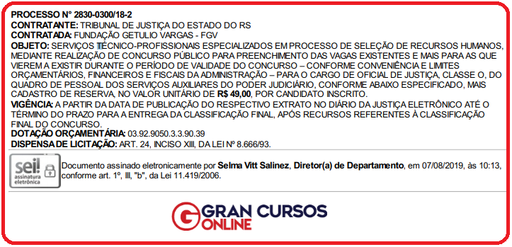 Edital TJ RS será organizado pela FGV!