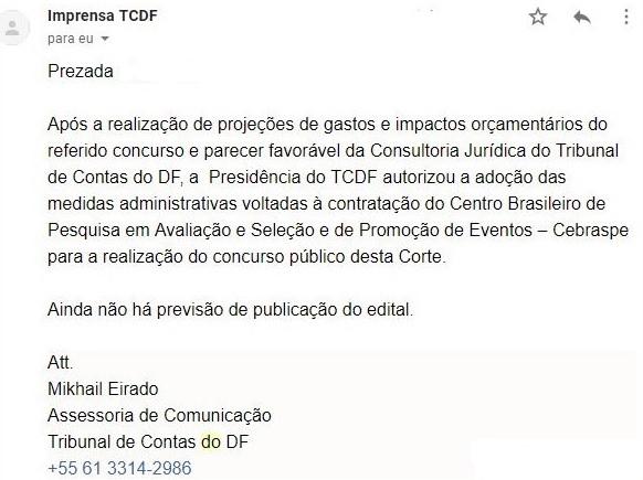 Concurso TCDF: e-mail da Imprensa TCDF.
