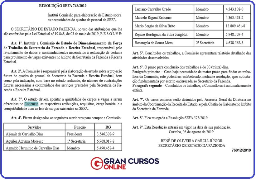Concurso Sefaz PR: nova resolução publicada no DOE