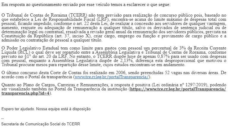 Concurso TCE RR: nota da Assessoria de Imprensa.