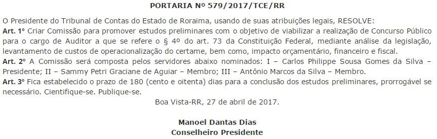 Concurso TCE RR: comissão formada.