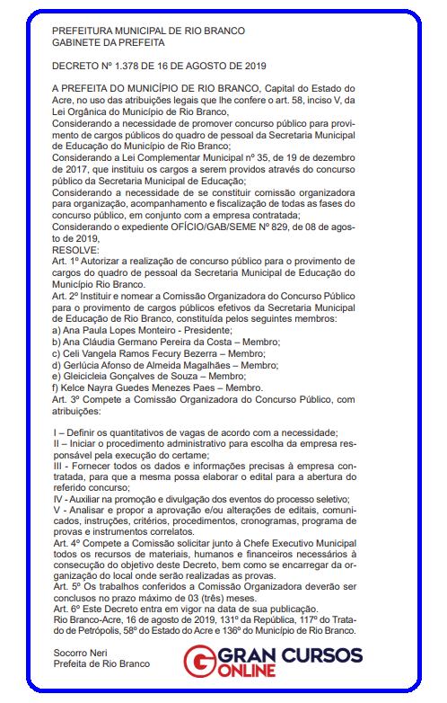 Concurso SEME Rio Branco AC: concurso autorizado!
