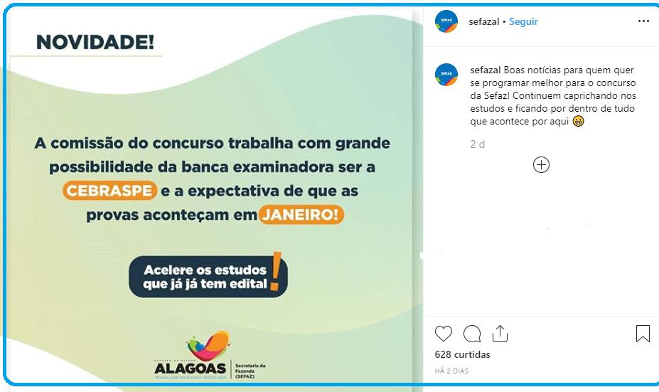 Concurso Sefazl AL: Cebraspe é anunciado como organizador.