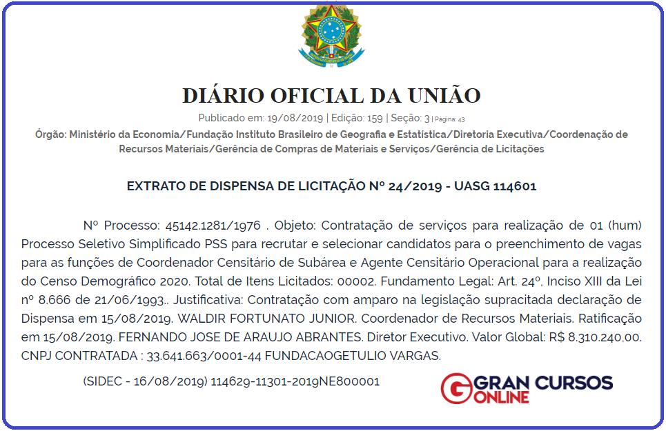 Concurso IBGE contrata Fundação Getúlio Vargas