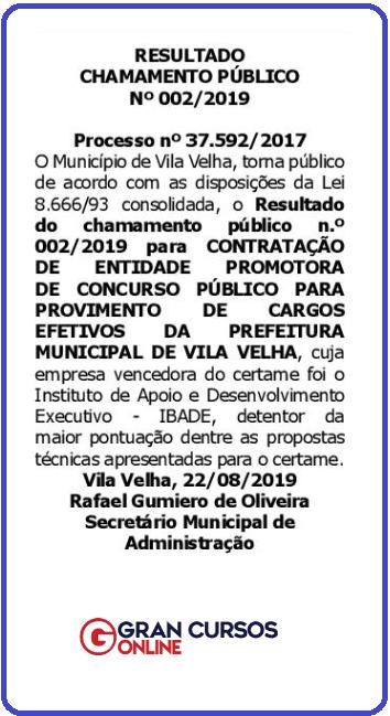 Concurso Prefeitura Vila Velha ES: são mais de mil vagas!
