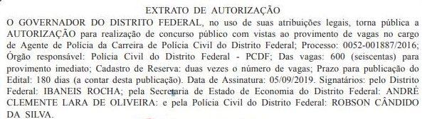 Concurso PCDF: Extrato de autorização publicado.