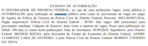 Concurso PCDF: Autorizado!