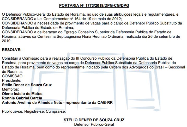 Concurso DPE RR: : Comissão formada